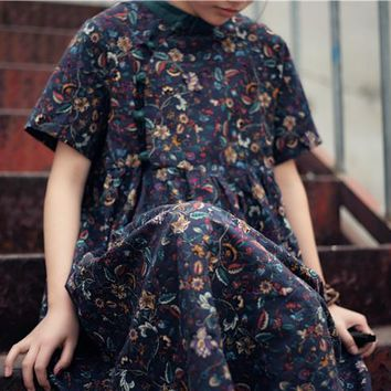 Summer Floral Print Stand Collar Frog Button Short Sleeve Cotton Linen Dress, Chinese Cheongsam Style Cute Large Hem A Line Robe