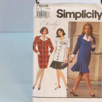 Vintage Simplicity sewing pattern 7608 women's petite dress size 18-22 pleated flounce