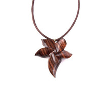 Flower Pendant, Flower Necklace, Wood Pendant Necklace, Wooden Flower Pendant, Wood Jewelry, Carved Wooden Flower Necklace, Women Jewelry