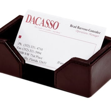 Office Conference Room Desk Tabletop Decorative Econo-Line Dark Brown Leather Business Card Holder