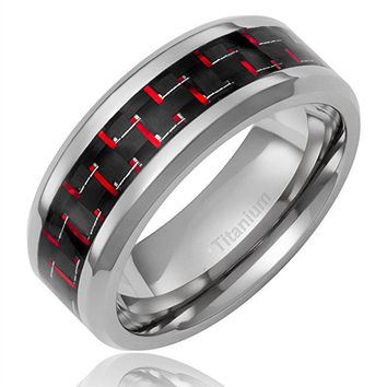 8mm Men's Titanium Ring Wedding Band Black and Red Carbon Fiber Inlay and Beveled Edges