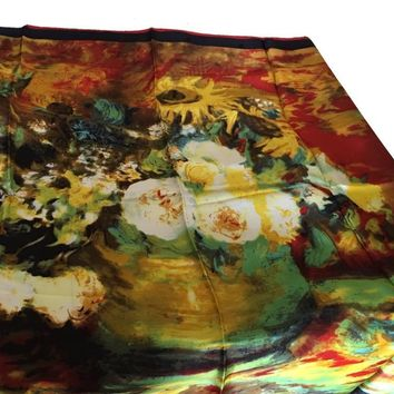 Flower Bouquet by Van Gogh Square Silk Scarf or Shawl 35 x 35 attic no returms