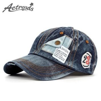 LMFON [AETRENDS] Novelty Cotton Denim Hats for Men or Women Baseball Cap Polo Caps Z-2217
