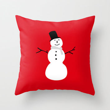 Winter Snowman Pillow Cover, Red White & Black Christmas Throw Pillowcase for Living Room and Holiday Home Decor