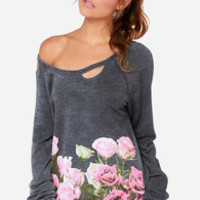 Chaser Floral Border Distressed Grey Floral Print Sweater