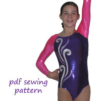 Leotards 4 pdf sewing pattern gymnastics long sleeve raglan sleeve leotard