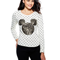 Allover Mickey Sequin Applique Long-Sleeve Top - Oatmeal