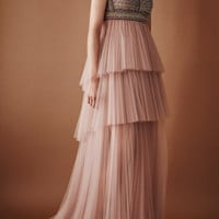 Embroidered Bodice Gown With Tiered Tulle Skirt | Moda Operandi