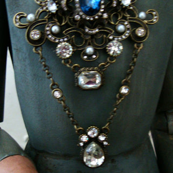 OOAK 30 inch Solid Wood Hand Carved Articulated Santos Cage Dollw/ Glass Eyes Distressed and Antiqued Jewelry Included