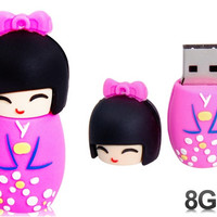 Cute Japanese Doll Design 8GB USB Flash Drive (Pink)