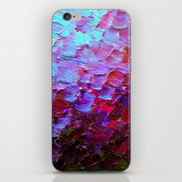 MERMAID SCALES - Colorful Ombre Abstract Acrylic Impasto Painting Violet Purple Plum Ocean Waves Art iPhone & iPod Skin by EbiEmporium