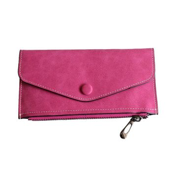 New Arrive 2016 Fashion womens wallets and purses Artificial leather Wallets Zipper & Hasp flat clutch wallet Female Girls #EY
