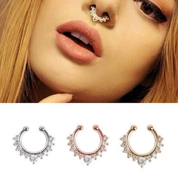 18 style Titanium nose Rings Crystal Fake Nose Ring Septum Piercing Hanger Clip On Body Jewelry Nose Hoop rings nose earrings
