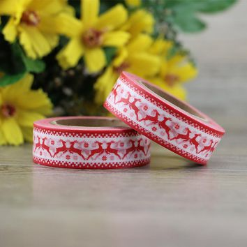 DIY Christmas Elk Snowflakes printed japanese washi tape paper adhesive masking tapes stickers for scrapbooking and gift packing