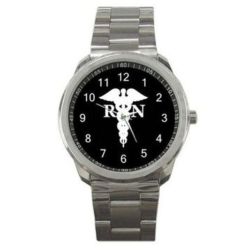 RN Caduceus on a Men or Womens Silver Sports Watch w/ Second Hand