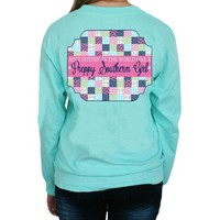 """*Closeout* Southern Girl Prep  """"Preppy Patchwork"""" Long Sleeve T-shirt"""