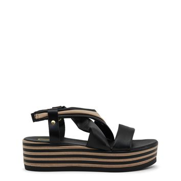 "Women's Black & Tan Italian Vegan Leather ""Ana Lublin DINAH"" Wedges Sandals with Buckle Closure"