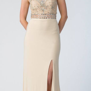 Starbox USA 6191 Fit and Flare Long Prom Dress Embellished Bodice Champagne