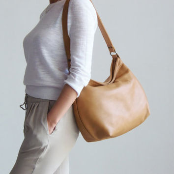 Leather Purse , Nude Beige Leather Hobo Bag , Slouchy Handbag -  MEDIUM HELEN On SALE