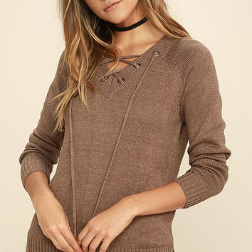 Chic Cred Brown Lace-Up Sweater