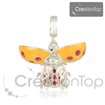 925 Silver Charm for any Pandora bracelet Ladybug charm with moving wings Swarovski crystals