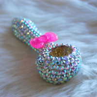 AB Rhinestone with Pink Sparkly Bow Tie Glass Pipe