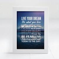 Inspirational Quote Frame Photo Picture Photography Framed Custom Graphic Print