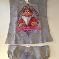 Girls Ladies Boxed Disney Grumpy Vest and Briefs Set. Grey or White. Size 6 to 12