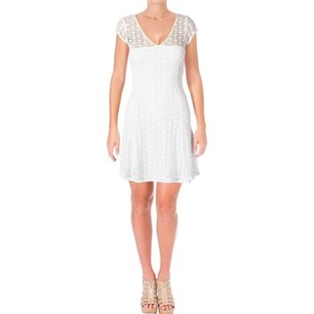 Aqua Womens Crochet V-Neck Party Dress