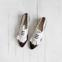 Vintage 80s Two Toned Leather Pointed Loafers | women's 7.5