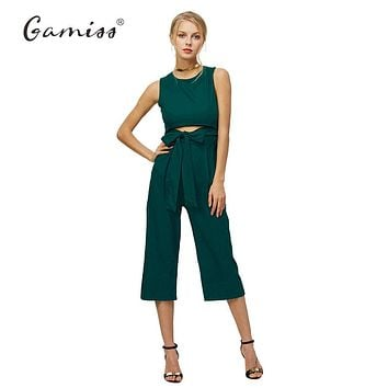 Summer Fashion Sexy Belt Corset Hollow Out Women Wide Leg Jumpsuit Sleeveless Bodycon