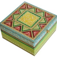 """SouvNear 5x5"""" Wooden Jewelry Box / Trinket box Hand Painted in Green Red Yellow - Gift for Her"""