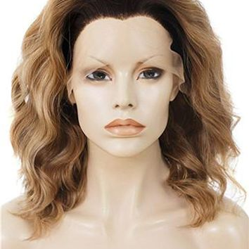 Short Ocher Ombre Wave Synthetic Lace Front Wig