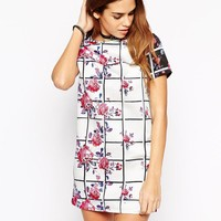 Glamorous | Glamorous Shift Dress in Grid and Floral Print at ASOS