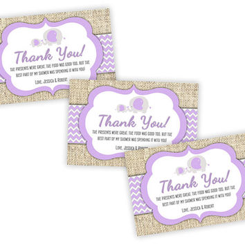 Purple Elephant Thank You Cards - Elephant Baby Shower Girl - Thank You Tags - Burlap Baby Elephant Chevron Lavender Party Favor Tags