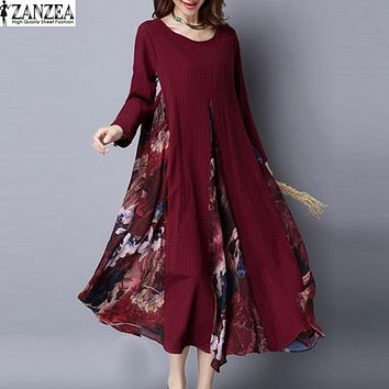 M-5XL ZANZEA Autumn Womens Floral Print Chiffon Splice Cotton Linen Long Sleeve Kaftan Party Boho Long Dress Tunic Plus Size