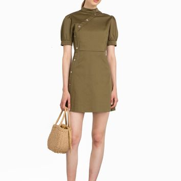 OLIVE SNAP BUTTON DRESS