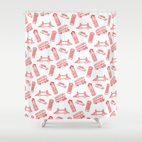 London - Red on White Shower Curtain by Alice Gosling | Society6