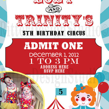Circus Clown Themed Birthday Invitation - Printable