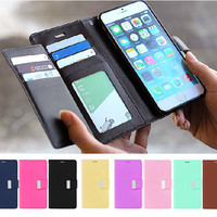Luxury Flip Wallet Card Holder Money Slot Photo Frame Metal Magnetic Leather Case Cover For iphone 5 5S SE 6 6S Plus 7 Plus Bag
