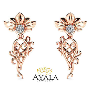 Rose Gold Diamond Earrings Floral Filigree Earrings Unique Diamond Jewelry Anniversary Gift