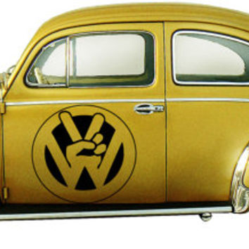 VW Peace Logo Beattle VW Bus Bulli, VW-Transporter Hippie dropout Woodstock Joy Car vinyl graphics Sticker tr097