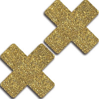 Gold Glitter Cross Pasties