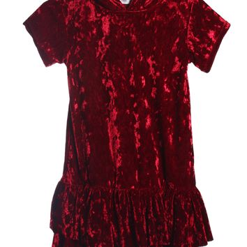 Girls Burgundy Velvet Hoodie Dress w. Pockets 2-12 & Plus 14x-18x