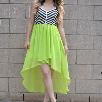 Neon and Stripes High Low Dress