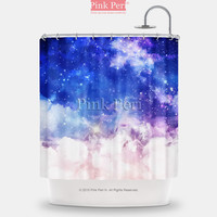 Blue Sky and White Cloud Galaxy Nebula Shower Curtain Home & Living 075