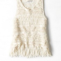 AEO Women's Fringe Muscle Tank (Cream)