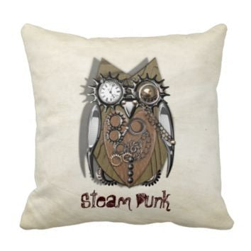 Steam Punk Cute Mechanical Owl Pillows