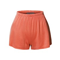 Lightweight Casual Basic Elastic Waist Active Lounge Short