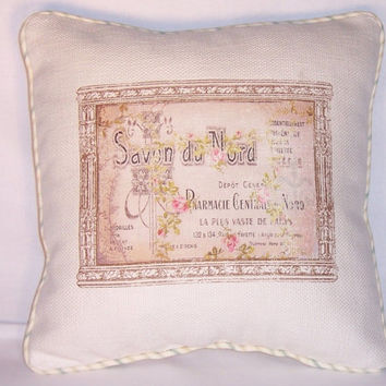 """French Soap Ad Throw Pillow Savon Vintage Repro Ivory Cotton  16"""" Square with Ticking Stripe Welting Ready Ship Cover and Insert"""